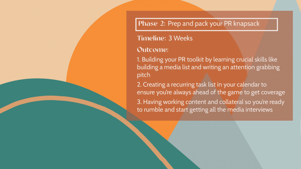 Hike Your Way To PR Success - Phase 2 with a background of an illustrated hike